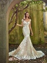 Vintage syrenka sylwetka sukienka Off The Shoulder koronkowe aplikacje kwiaty niski bez pleców sąd pociąg suknia ślubna