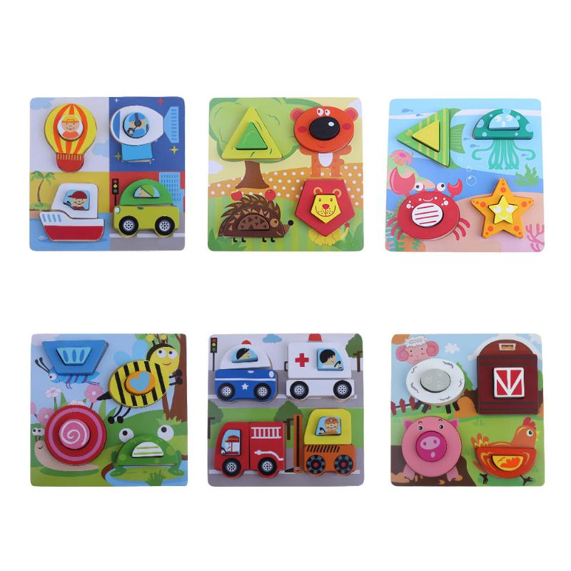3D Jigsaw Puzzle Wooden Toys Cartoon Traffic Animal Design Puzzles Kids Brain Teaser Montessori Educational Toy for Children цена