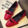 Women's Patent Leather Flats Sweet Bowtie Slip-on Ballet Flats Shoes for Women Brand Designer Vintage Single Shoes Ballerinas