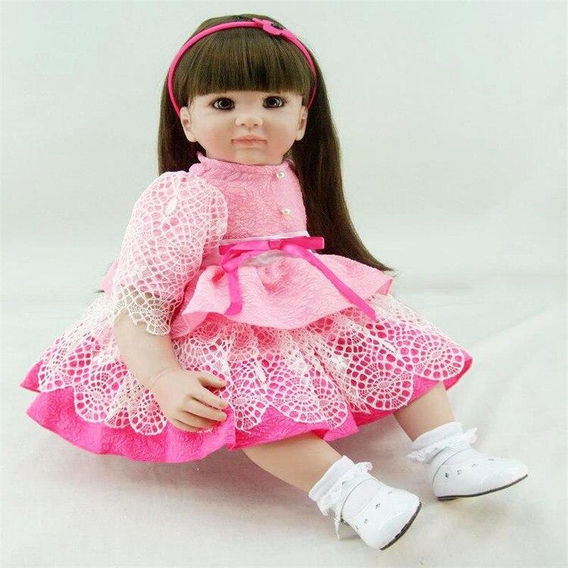 22 inch 55 cm reborn Silicone dolls lifelike doll reborn babies toys Pretty dress cute girl