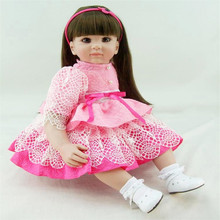 22 inch 55 cm   reborn Silicone dolls, lifelike doll reborn babies toys Pretty dress cute girl