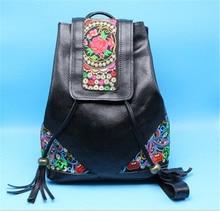 Коровьей кожи кисточкой китайский этническая вышивка рюкзаки цветочные цветок старинные школы коровьей сумки