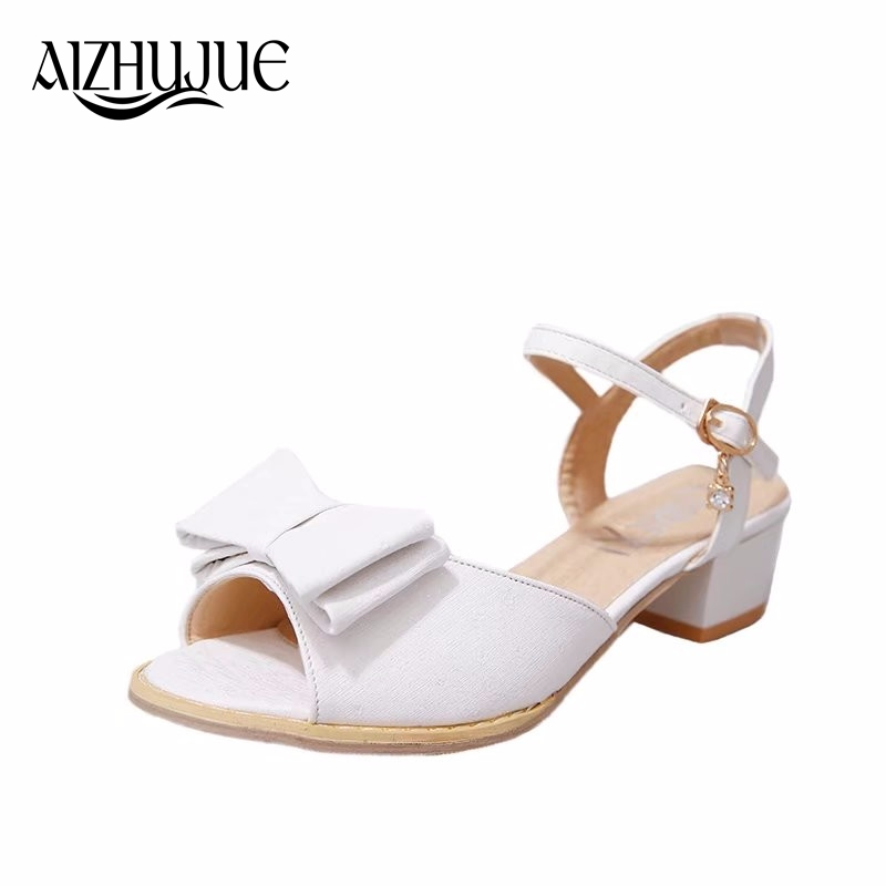 915bbe5a809740 Fashion High Heels Peep Toe Sandals Women Summer Open Toe Thick Heel  Sandals Back Strap Buckle Bowtie Woman High Heels Shoes