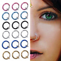 2pcs Goth Punk Clip On Fake Piercing Body Nose Lip Rings Hoop Ear Tongue Ring 10mm Unisex Tongue Ring 6 Colors