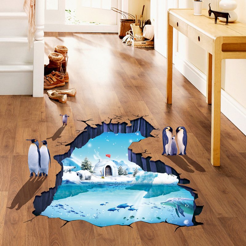 Modern 3D Flooring Wallpapers for Walls 3D Material Removable Vinyl Stickers for Kids Room Home Decoration Bathroom Wall Papers