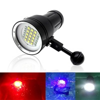 Professional Underwater 100m Scuba Video Light 15 XML2+6 Red+6 UV LED Photography Video Dive Flashlight Lamp Diving Light
