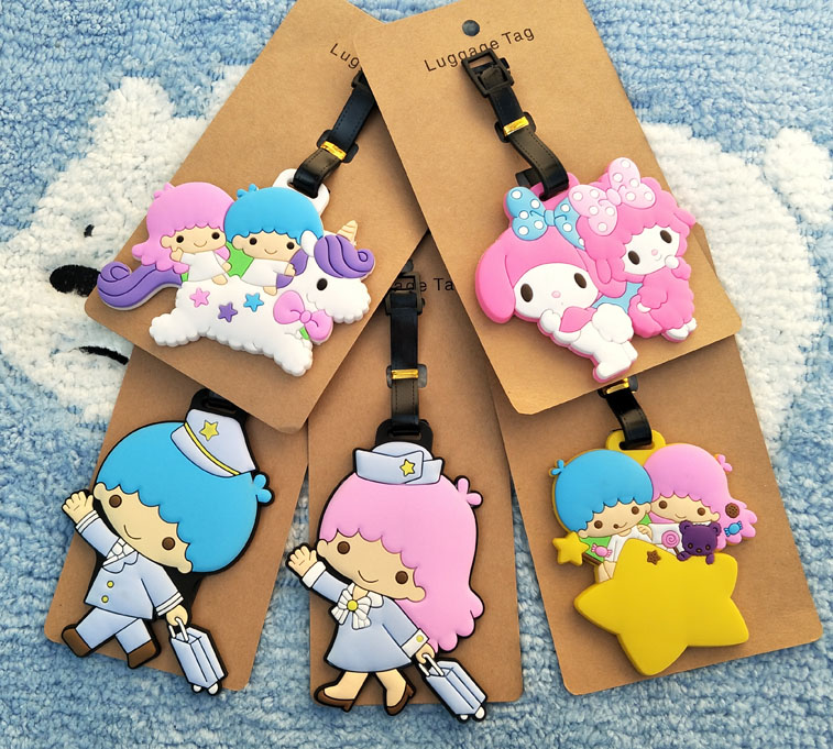 IVYYE Little Twin Star Cos Anime Travel Accessories Luggage Tag Suitcase ID Address Portable Tags Holder Baggage Label New