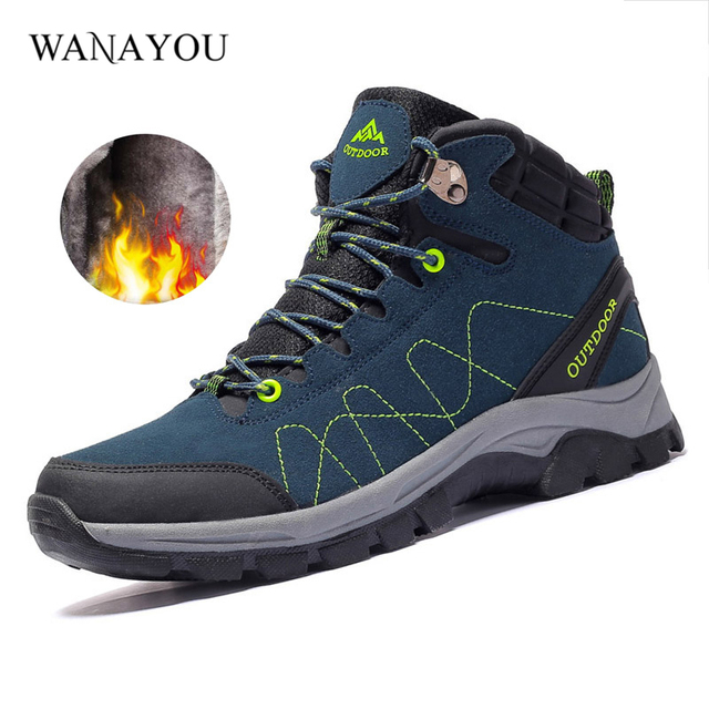 e95927c27cfd6 Winter Men's Sneaker Outdoor Jogging Trekking Sport Shoes Fleece Moutain Climbing  Sneakers Hiking Shoes 3Colors 39