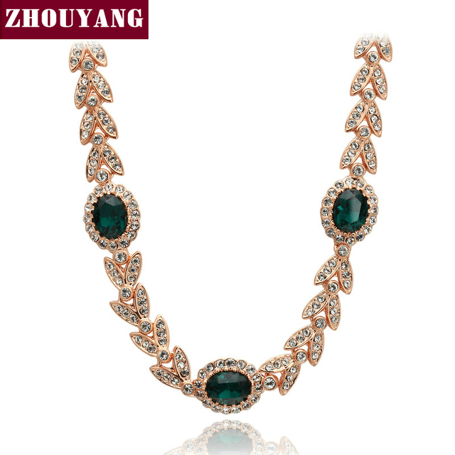 Top Quality ZYN215 Created Emerald Green Crystal  Necklace  Rose Gold Pated Pendant Necklace Jewelry Austrian Crystal  Wholesale