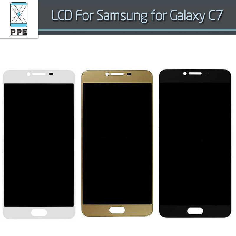 LCD Display Touch Screen For Samsung Galaxy C7 C7000 LCD Screen Digitizer Pantalla Complete Replacement Assembly Gray White Gold lcd screen replacement for oneplus one plus 3 lcd display touch digitizer frame complete assembly repair pantalla black white