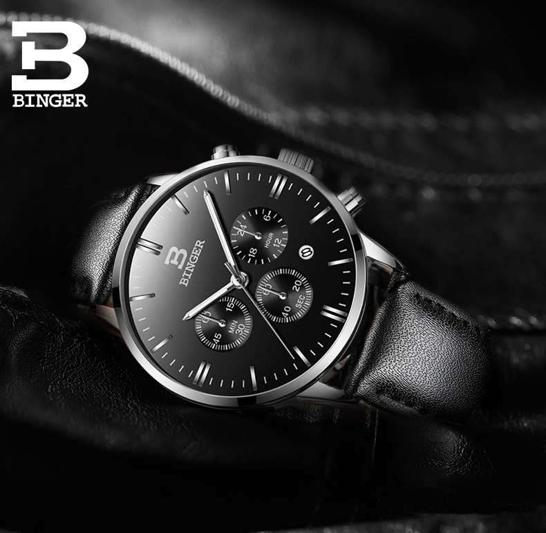 Men Watch Top Luxury Brand BINGER Fashion Clock Genuine Leather Strap Waterproof Multifunction Quartz Wristwatches Gift Hot Sale