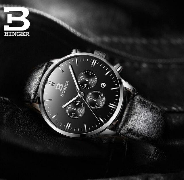 Men Watch Top Luxury Brand BINGER Fashion Clock Genuine Leather Strap Waterproof