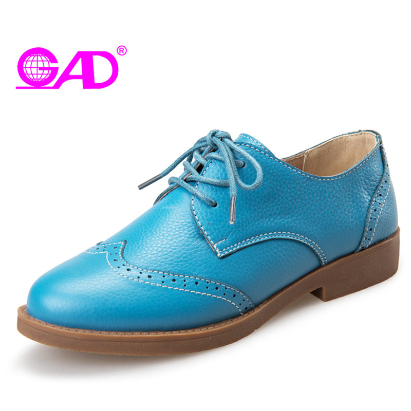 GAD New Women Genuine Leather Shoes Short Heel Shoes Moccasins Loafers Soft Leisure Flats Female Driving