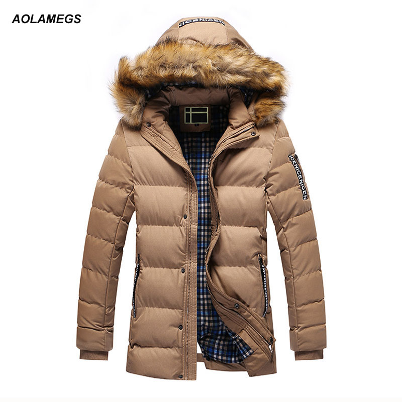 Aolamegs Winter Jacket Men Thick Warm Hooded Parkas Coat Korean Fashion Street Style Cotton-padded Jackets Windproof Outwear winter men parkas casual jackets man hooded windproof thick warm outwear overcoat wadded coat style solid brand clothing