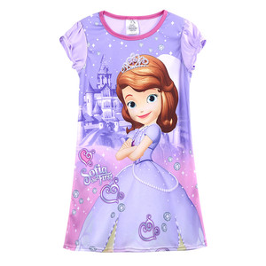 Cute Cartoon Sophia Princess Dress For Kids Baby Girls Clothes O Neck Short Sleeve Loose Purple Summer Dress 4-14Y(China)