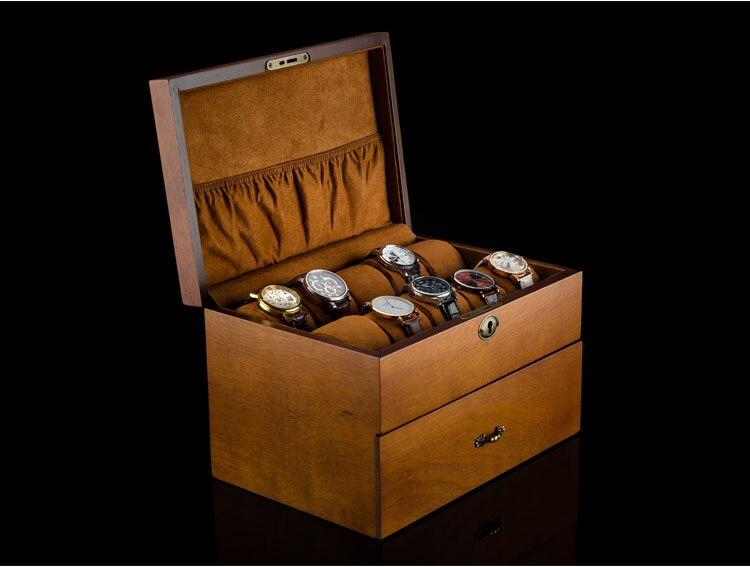 Mei 2 слоя часы ящик для хранения коричневый деревянные часы Дисплей чехол с замком Для мужчин кварцевые часы украшения подарок Коробки a083
