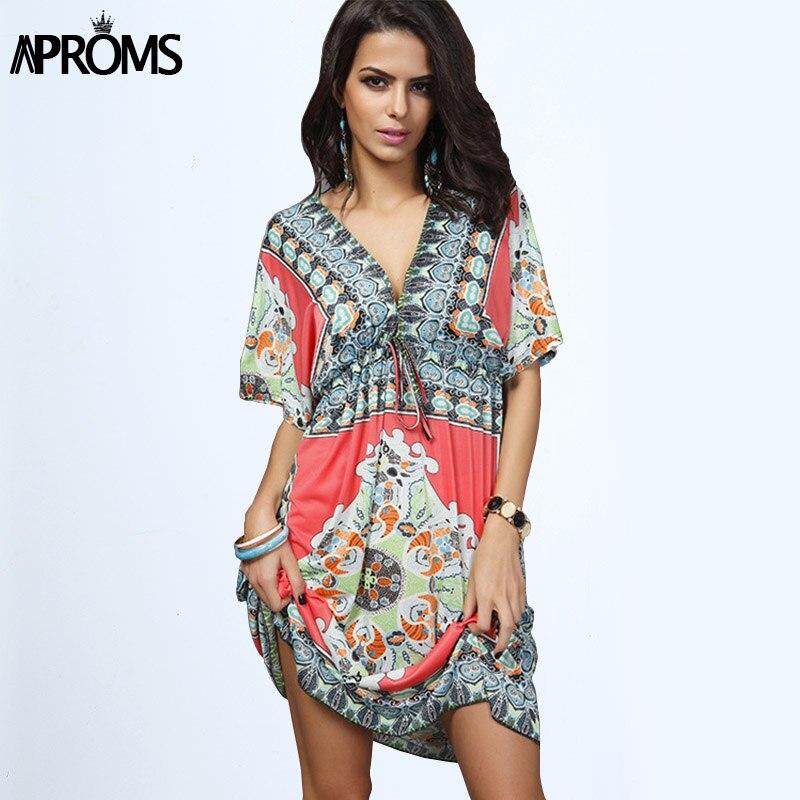 Boho D'été Femmes Robe Sexy Robes D'été En Vrac Profonde V Cou Dashiki Imprimer Tunique Plage Robes Grande Taille 2XL Femme Robe D'été robe