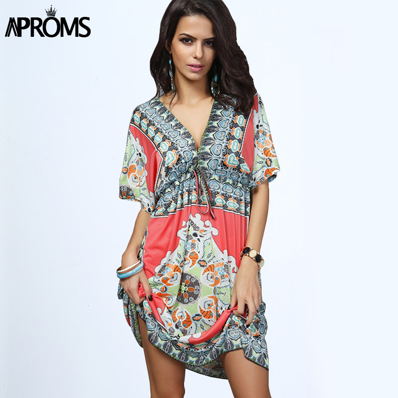 Boho Summer Women Dress Sexy Luźne Sundresses Głębokie V Neck Dashiki Drukuj Tunika Sukienki Plażowe Duży Rozmiar 2XL Kobieta SunDress Robe