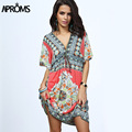 Boho Summer Women Dress Sexy Loose Sundresses Deep V Neck Dashiki Print Tunic Beach Dresses Big Size 2XL Woman SunDress Robe