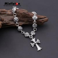 Authentic 925 Sterling Silver Vintage Punk Locomotive Cross Flower Link Bracelet For Women Men Jewelry