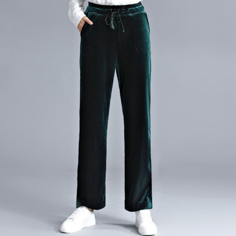 Velvet High Waist   Wide     Leg     Pants   Women New Trousers large size