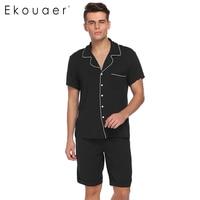 Ekouaer Mannen Pyjama Turn-down Kraag Pajama Patchwork Korte Mouw Tops Met Elastische Taille Shorts Pyjama Sets Casual Nachtkleding