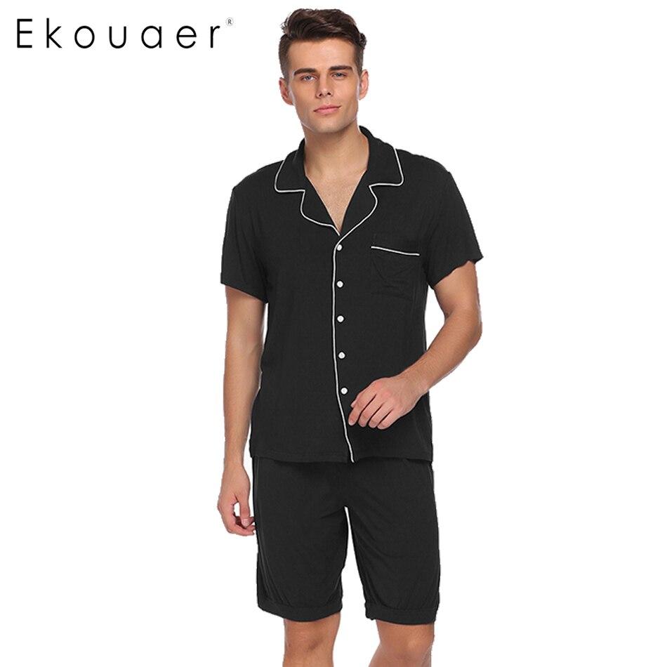 Ekouaer Men Pajamas Set Turn-down Collar Pajamas Short Sleeve Tops With Elastic Waist Shorts Pajamas Sets Casual Sleepwear