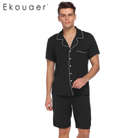 Ekouaer Men Pajamas Set Turn down Collar Pajamas Short Sleeve Tops With Elastic Waist Shorts Pajamas Sets Casual Sleepwear