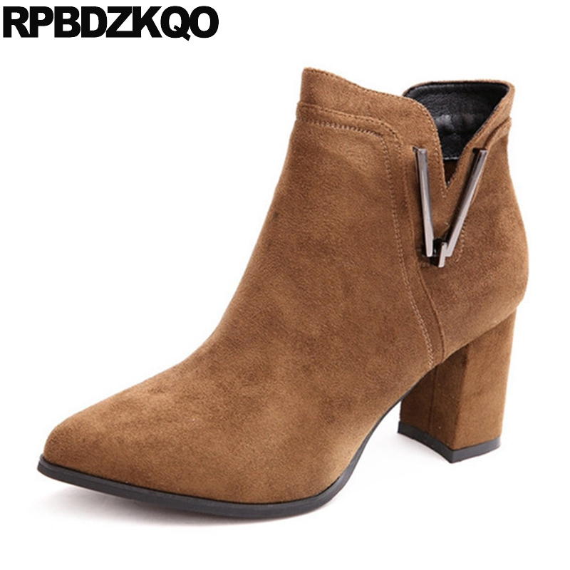 Metal Suede Shoes High Heel Brown 2017 Side Zip Boots Short Autumn Chunky Booties Vintage Size 4 Pointed Toe Ankle Fashion women ankle boots medium heel genuine leather booties vintage thick suede round toe chunky shoes slip on platform brown fall