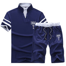 Men Summer 2PC Set Breathable 2019 Sportsuits Mes Short Set Two Pieces Fashion HDA Track Suit Men T-shirt +Shorts Tracksuit Set(China)