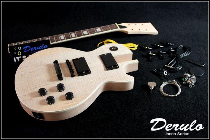 DIY Electric Guitar Kit Set In Spalted Maple Veneer Top Solid Mahogany MX 021