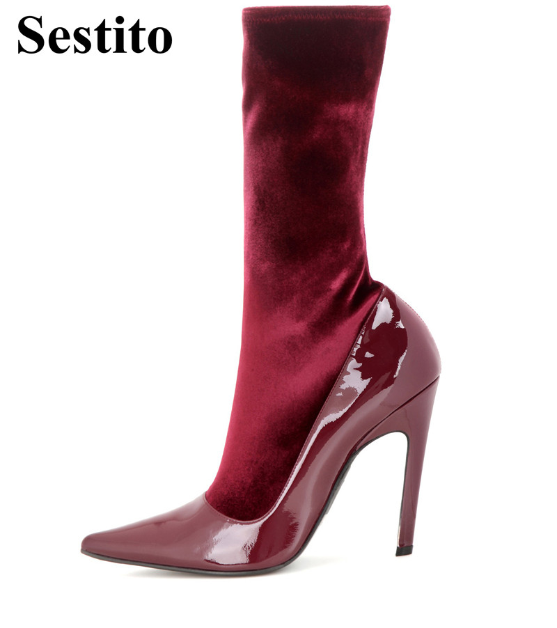 Fashion Red Wine Super High Heel Woman Boots Pointed Toe Mid-Calf Boots For Women Slip-on Thin Heels Short Boots Women Shoes 2018 spring new white solid color pointed toe spike heels slip on mid calf short boots women s off white leather boots lady