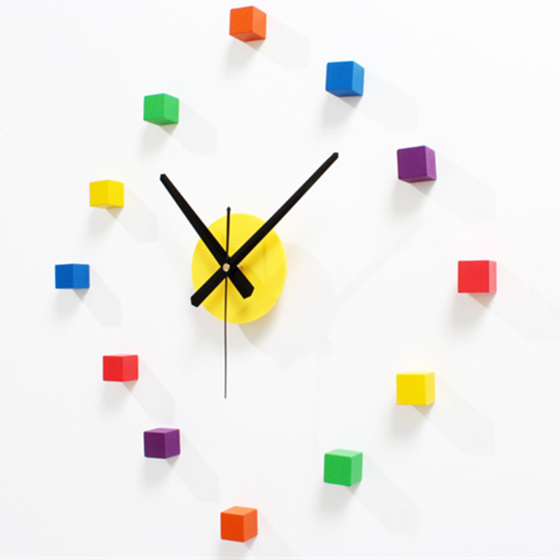 Wall Clock Stereo Clock Saat Reloj Duvar Saati Horloge Murale Self Adhesive Digital Wall Clocks Reloj De Pared Klok Home Decor