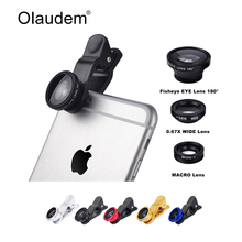 Universal 3 In 1 Mobile Phone Macro Fish Eye Lens  Wide  Angel Camera Lenses for iPhone 4 4S 5 5C 5S 6 Plus Samsung Galaxy S3 S5
