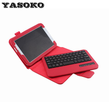 Y For Samsung Galaxy Note 8.0inch N5100/5110 Removable Wireless Bluetooth Keyboard silicon Keys with Stand+PU Leather Case Cover
