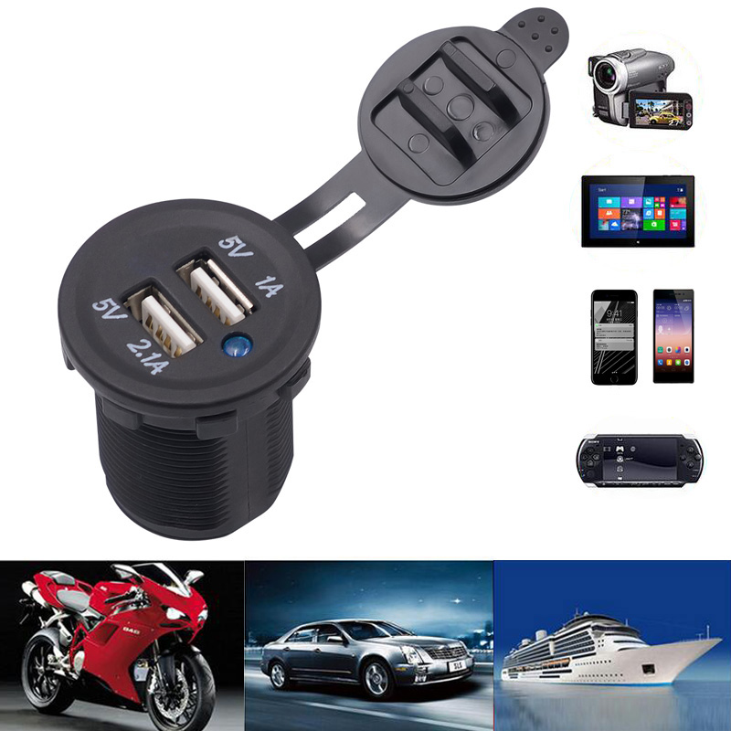 motorcycle dual usb socket charger power adapter outlet powe