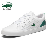 CARTELO 2019 New Casual Shoes Men Leather Flat Shoes Lace up Low Top Sneakers Tenis Masculino