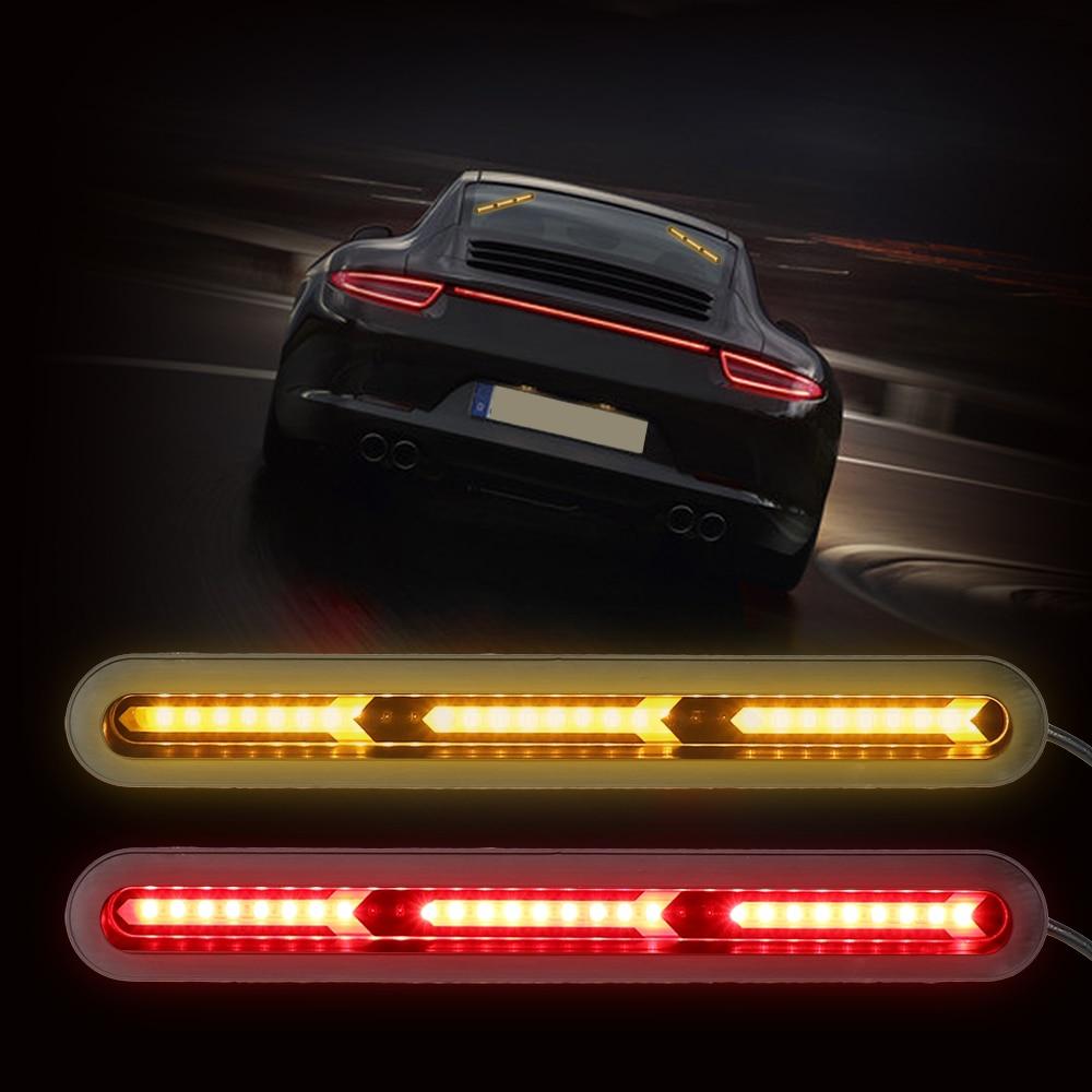 LEEPEE 1 Pair Amber Turn Signal Light Car Rear Windscreen Light Flow LED Trunk Strip Light Driving Lamps Red Tail Brake Lamp