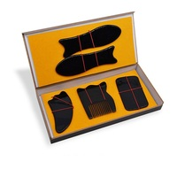 5pcs Natural black wax scraping board and black ox horn massage comb beauty face Scrapping plate for health beauty