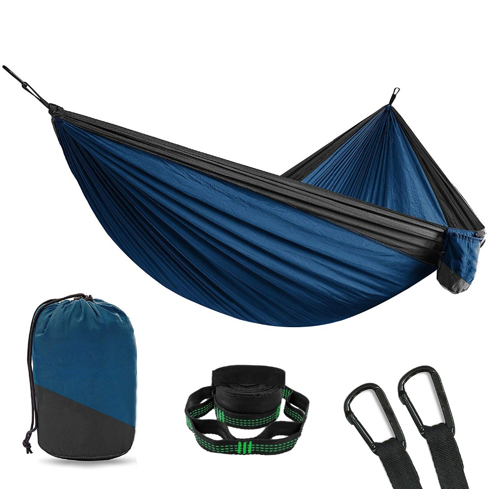 2 Person Double Camping Hammock With 2pcs Tree Straps XL 10 Foot Nylon Portable Heavy Duty Holds 700lb for Sitting Hanging Sale sesibibi 2pcs цвет случайный xl