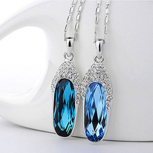 Crystal Necklace Pendant for women Stone Jewelry Glass shoes necklace pendant brief design elegant short necklace female 2017