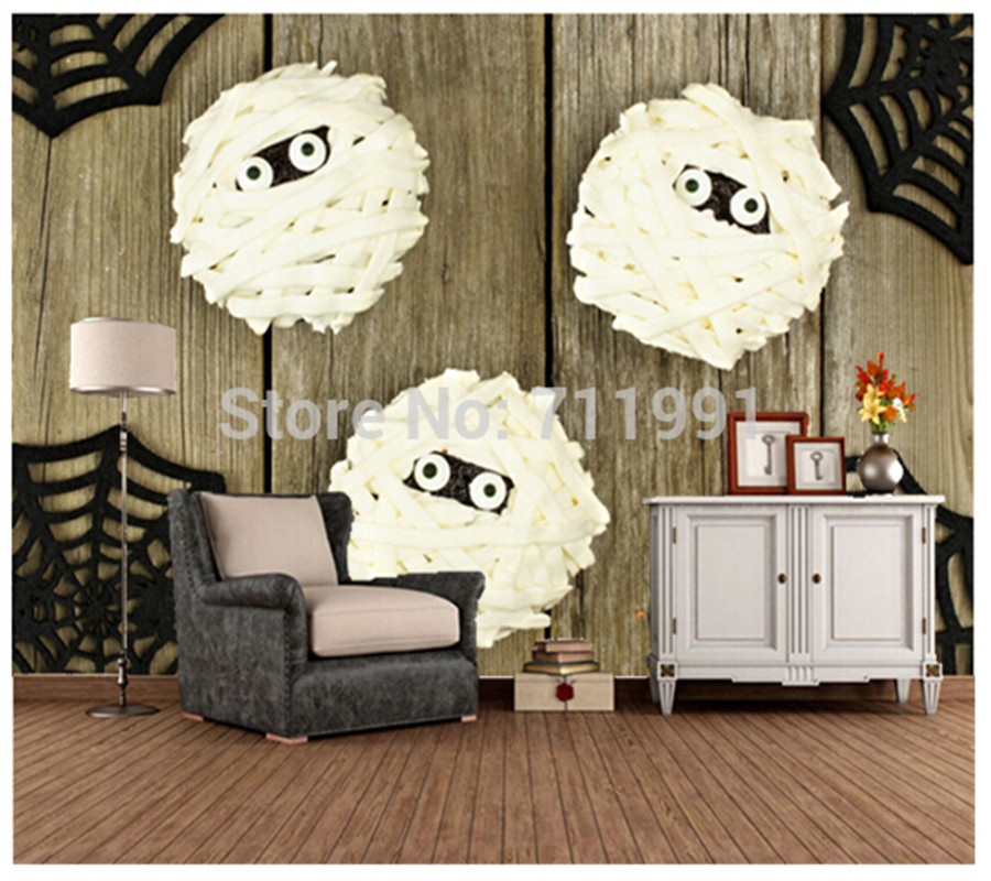 Custom large mural of the living room sofa restaurant background wall wallpaper Halloween mummy cupcakes free shipping personalized custom 3d fresh bamboo living room sofa backdrop wall large mural waterproof wallpaper