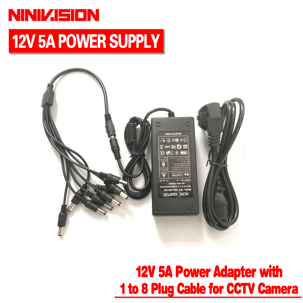NINIVISION 12V 5A 8CH Power Supply CCTV Camera Power Box 8 Port DC+Pigtail COAT DC 12V Power Adapter