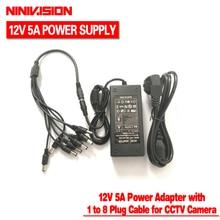 NINIVISION 12 โวลต์ 5A 8CH แหล่งจ่ายไฟกล้องวงจรปิดกล่อง 8 พอร์ต DC + Pigtail COAT DC 12 โวลต์ power Adapter