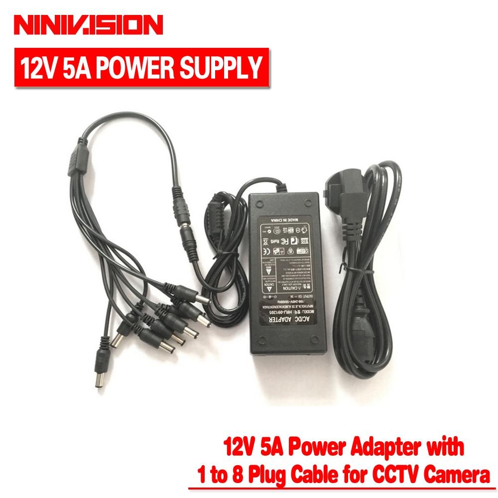 NINIVISION 12 v 5A 8CH Alimentação Da Câmera do CCTV Caixa de Energia 8 Porto DC + Pigtail CASACO DC 12 v adaptador de energia