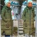 2016 Novas Mulheres Outono inverno longa seção jaqueta Com Capuz Para Baixo Casaco de Inverno Feminino Espessamento Das Mulheres de Algodão Com Capuz Outwear Estudante