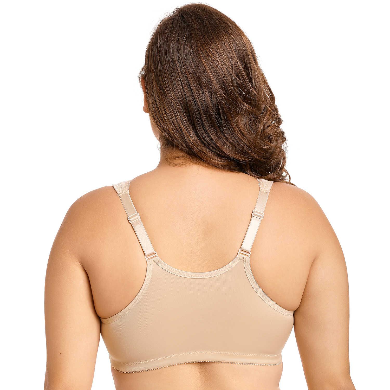 e1ec8dff415 ... Bra  Women s Front Closure Wireless Full Figure Racerback Lace Plus Size  ...