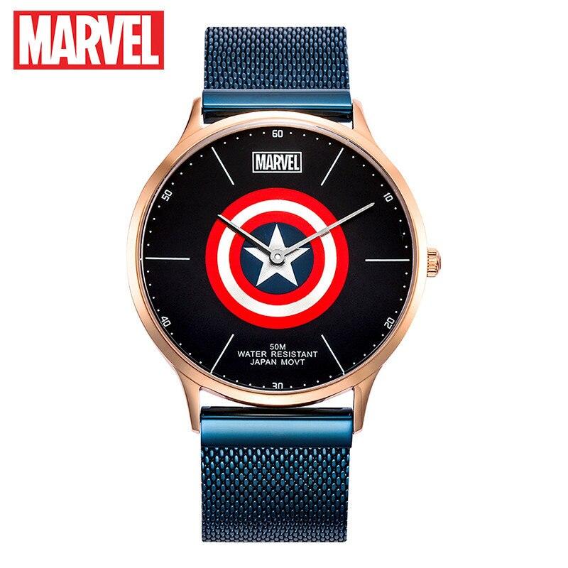 마블 캡틴 아메리카 전체 스테인레스 스틸 초박형 미요 타 쿼츠 손목 시계 남성용 패션 montre homme disney clock wacht-에서수정 시계부터 시계 의  그룹 1
