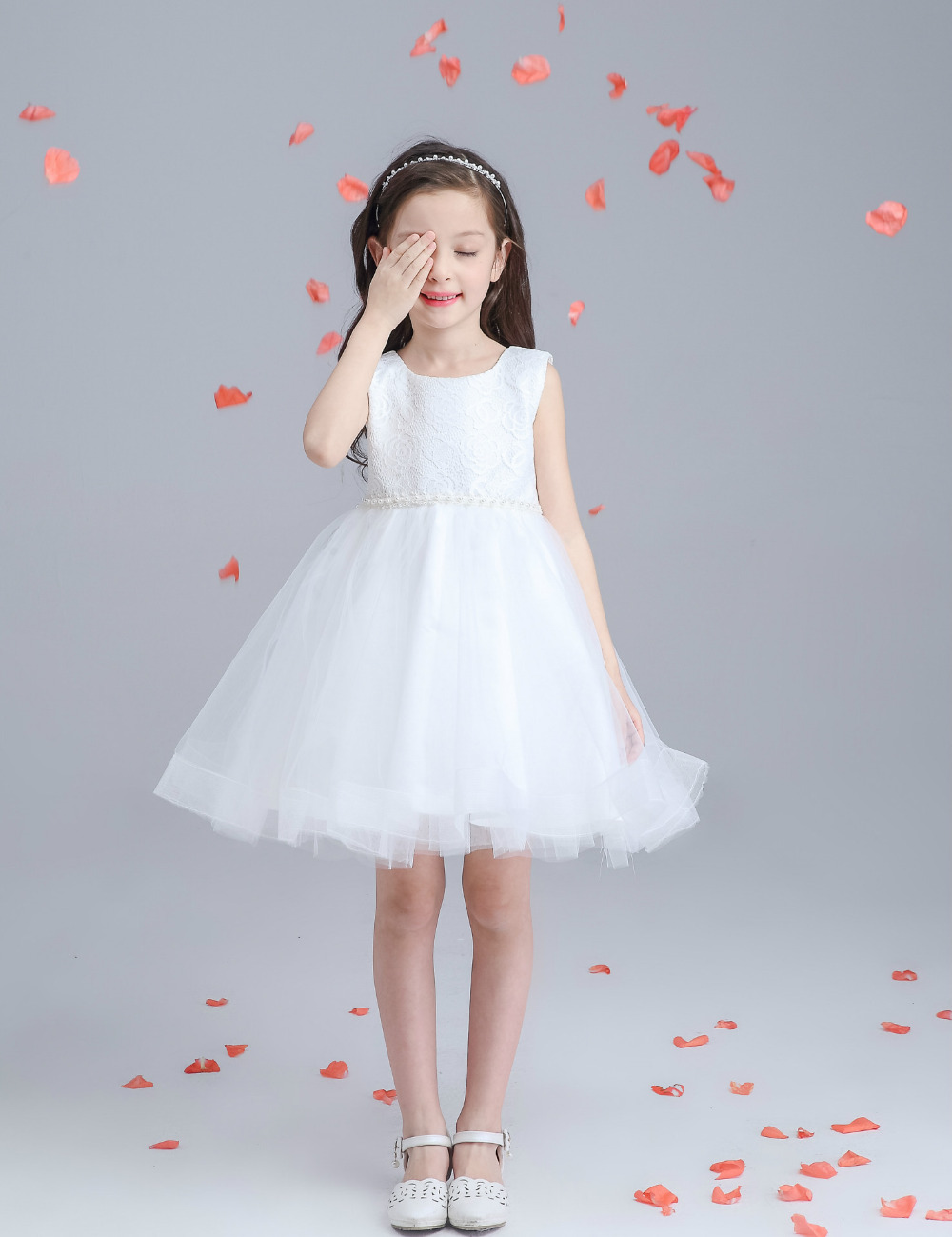 9121 Free shipping Cheap New flower girl dresses Ivory lace flower ...