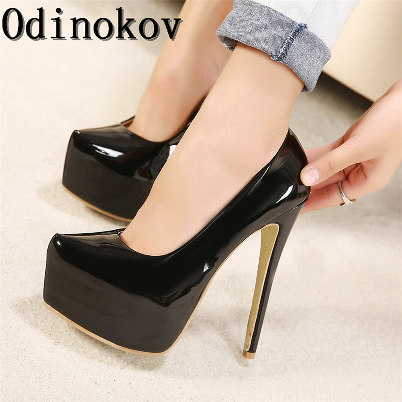 odinokov 15cm high heels party woman pumps shoes sexy peep. Black Bedroom Furniture Sets. Home Design Ideas